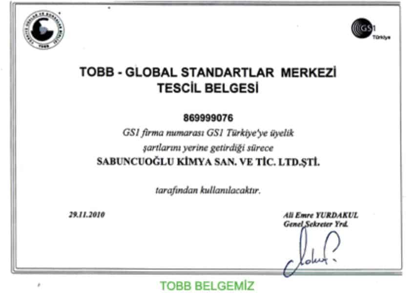 TOBB GLOBAL STANDARTLAR MERKEZİ Kalite Belgesi