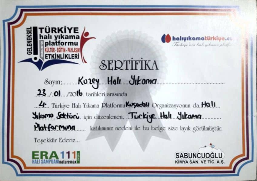 Halı Yıkama Türkiye Sertifikası